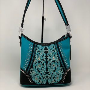 Montana west embroided hobo bag turquoise